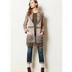 Anthropologie Satpura fringe beaded sweater cardi